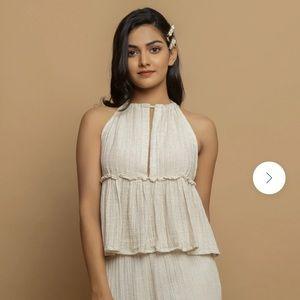 Women's Plus Cotton Flax Peplum Top